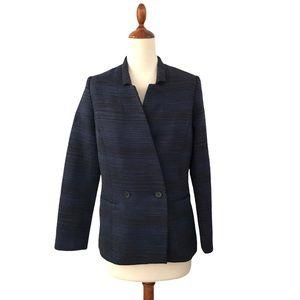 Apiece Apart Blue + Black Horizontal Stripe Blazer